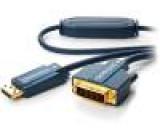 Kabel DisplayPort vidlice, DVI-D (24+1) vidlice 5m modrá