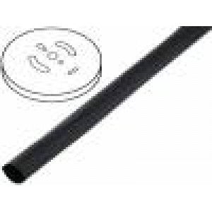 Teplem smrštitelná trubička s lepidlem 3:1 6,4mm černá