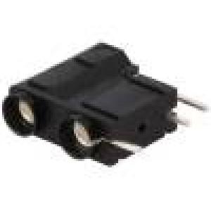 Zásuvka banánek 4mm 10A 250VDC černá do PCB 29,7mm 10mΩ