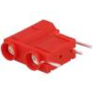 Zásuvka banánek 4mm 10A 250VDC červená do PCB 29,7mm