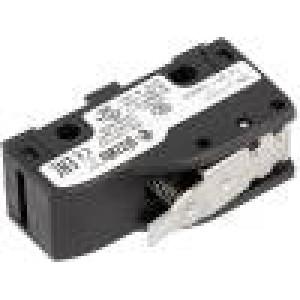 Mikrospínač s páčkou SPDT 6A/250VAC 5A/24VDC ON-(ON) IP40