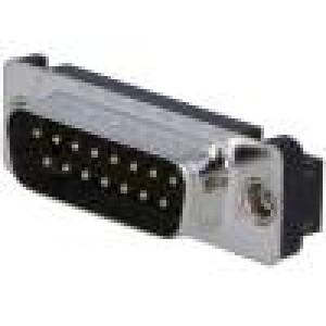 Zásuvka D-Sub 15 PIN vidlice se závitovým otvorem přímý THT
