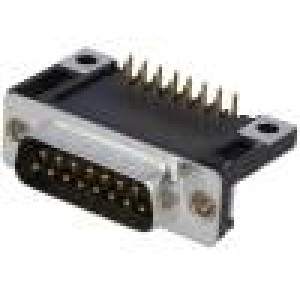 Zásuvka D-Sub 15 PIN vidlice standard 14,1mm úhlové 90° THT