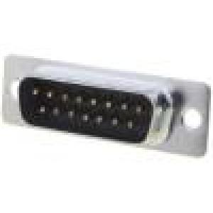 Zásuvka D-Sub 15 PIN vidlice přímý THT zlacený