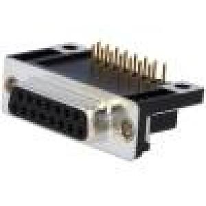 Zásuvka D-Sub 15 PIN zásuvka standard 14,1mm úhlové 90° THT
