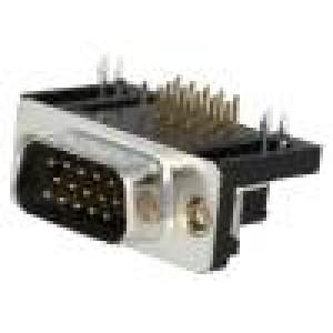 Zásuvka D-Sub HD 15 PIN vidlice zajištění šroubky úhlové 90°