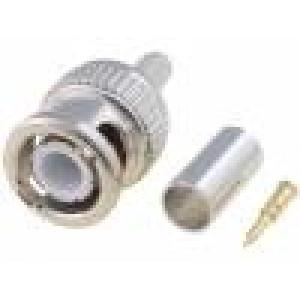 Zástrčka BNC vidlice přímý 50Ω krimpovací na kabel delrin