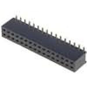 Zásuvka kolíkové zásuvka PIN:32 přímý 1,27mm SMT 2x16 1A