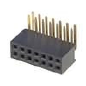 Zásuvka kolíkové zásuvka 14PIN úhlové 90° 1,27mm THT 2x7