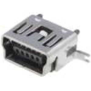 Zásuvka USB B mini SMT svislý V USB 2.0 zlacený