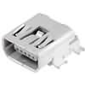 Zásuvka USB AB mini na plošný spoj SMT 5 PIN vodorovné 0,8mm