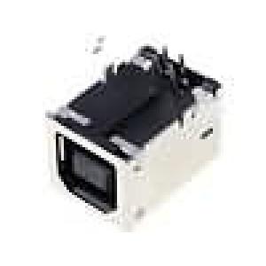 Zásuvka USB B na plošný spoj THT 4 PIN úhlové 90° zlacený