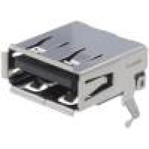 Zásuvka USB A THT úhlové 90° V USB 2.0 zlacený