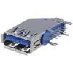 Zásuvka USB A THT boční V USB 3.0 zlacený