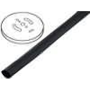 Teplem smrštitelná trubička 2:1 2,5mm černá polylefin