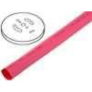 Teplem smrštitelná trubička 2:1 6,4mm červená polylefin