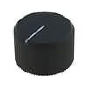 Knoflík s ukazatelem hliník pro hřídel 6mm Ø24x15mm černá