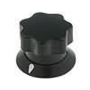Knoflík s ukazatelem ABS pro hřídel 6mm Ø19x16mm černá