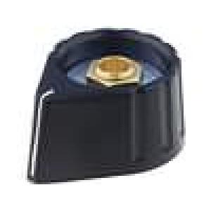 Knoflík s ukazatelem plast pro hřídel 6mm Ø28x17mm černá