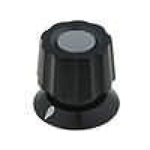 Knoflík s ukazatelem ABS pro hřídel 6mm Ø19x19mm černá