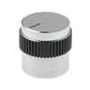 Knoflík s ukazatelem hliník pro hřídel 6mm Ø15x15mm šedo-černá