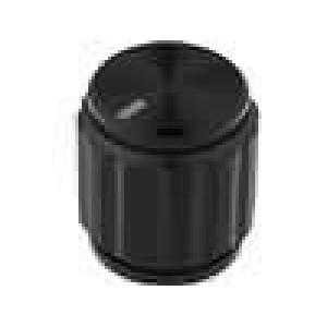Knoflík s ukazatelem hliník pro hřídel 6,35mm Ø15x16,5mm černá