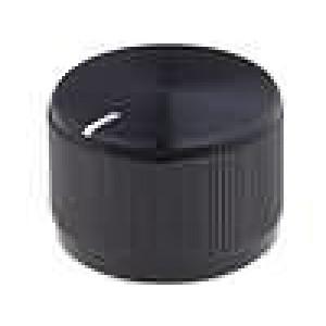 Knoflík s ukazatelem hliník pro hřídel 6,4mm Ø24x15,8mm černá