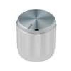 Knoflík s ukazatelem hliník pro hřídel 6,35mm Ø15x15mm stříbrná