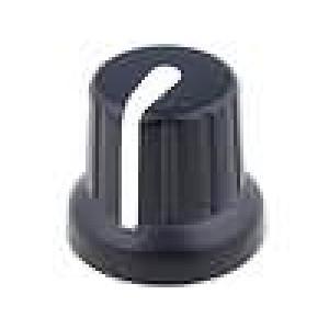Knoflík miniaturní s ukazatelem pro hřídel 6,35mm černá