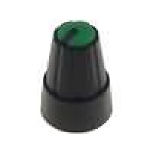 Knoflík miniaturní plast pro hřídel 6mm Ø13x19mm černá