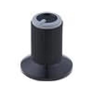 Knoflík s límcem plast pro hřídel 6mm Ø10x19mm černá Víčko Bílá