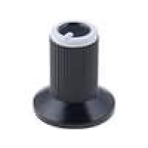 Knoflík s límcem plast pro hřídel 6mm Ø10x19mm černá Víčko šedá