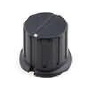 Knoflík s límcem bakelit pro hřídel 6,35mm Ø17x15,6mm černá