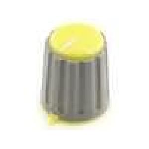 Knoflík s ukazatelem pro hřídel 6mm Ø15,3x18mm zatlačované