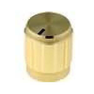 Knoflík s ukazatelem hliník, termoplast pro hřídel 6mm Ø14x16mm