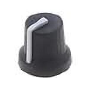 Knoflík s ukazatelem pryž, plast pro hřídel 6mm Ø16,8x14,5mm