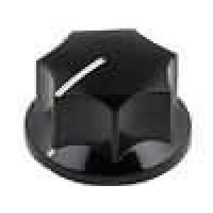 Knoflík s ukazatelem bakelit pro hřídel 6mm Ø23,6x15,7mm černá