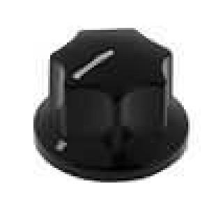 Knoflík s ukazatelem bakelit pro hřídel 6mm Ø15x12,3mm černá