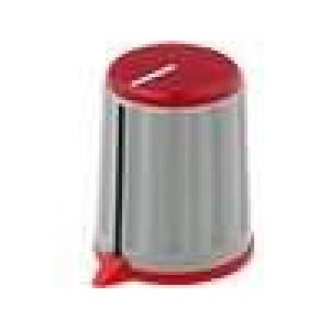 Knoflík s ukazatelem ABS pro hřídel 6mm Ø15,6x19,2mm šedá