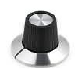 Knoflík s límcem plast pro hřídel 6mm Ø15x18,1mm hladký