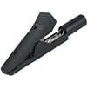Krokosvorka 10A 60VDC černá délka 41,5mm niklovaný povrch