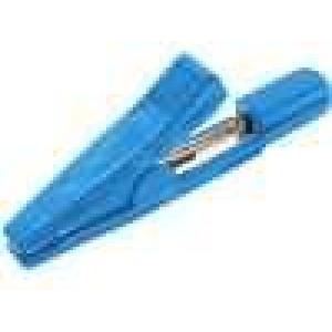 Krokosvorka 5A 70VDC modrá délka 42mm niklovaný povrch