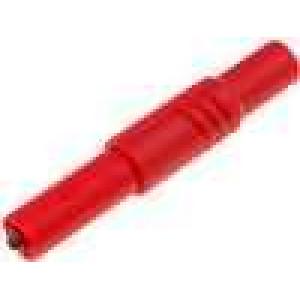 Zástrčka banánek 4mm 24A červená s krytkou 3mΩ 0,5-2,5mm2