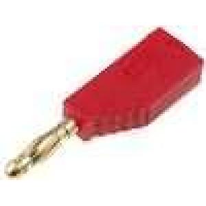 Zástrčka banánek 4mm 32A červená se zdířkou v ose 2,5mm2