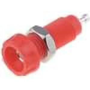 Zásuvka banánek 4mm 10A 50VDC 28,5mm červená Kontakty mosaz