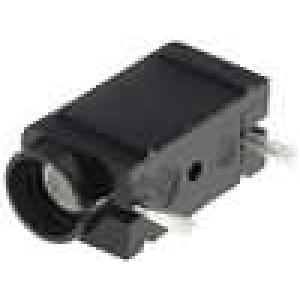 Zásuvka banánek 4mm 10A 250VDC černá do PCB 23,3mm 10mΩ