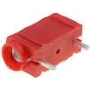 Zásuvka banánek 4mm 10A 250VDC červená do PCB 23,3mm