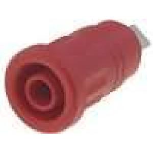 Zásuvka banánek 4mm 32A červená do panelu 24mm