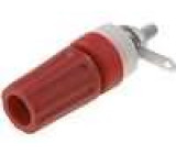 Zásuvka banánek 4mm 15A 250VDC L:45mm červená Kontakty mosaz
