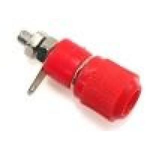 Zásuvka banánek 4mm 60VDC L:34mm průměr Ø8mm červená